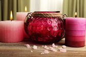 Spa still life with sea salt and candlelight — Fotografia Stock
