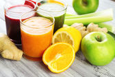 Assortment of healthy fresh juices — 图库照片