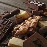Set of chocolate with hazelnut, closeup — Stock Photo #72478211