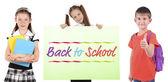 Skolan koncept. Skolbarn isolerad på vit — Stockfoto