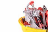 Construction tools in helmet — Stock Photo
