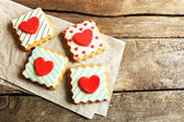 Heart shaped cookies for valentines day on wooden background — Stock Photo