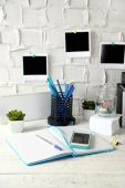 Stylish workplace at home or studio — Stock Photo