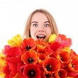 Portrait of young woman with beautiful bouquet of tulips isolated on white — Stock Photo #72765593