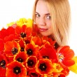Portrait of young woman with beautiful bouquet of tulips isolated on white — Stock Photo #72765597