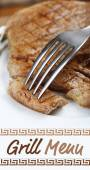 Delicious grilled meat on plate and space for text — Stock Photo