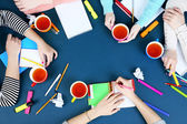 Creative team for work flow on blackboard background top view — Stock Photo