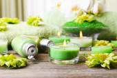 Beautiful spa composition with candles on table close up — Stock Photo