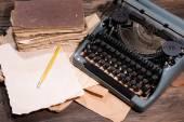 Old retro typewriter on table close-up — Stock Photo