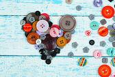 縫製ボタン心šití tlačítka srdce — Stock fotografie