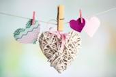 Srdce visí na laně — Stock fotografie