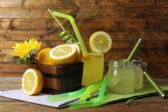 Still life with lemon juice — Stock Photo