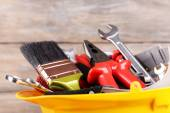 Construction tools in helmet close up — Stock Photo