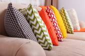 Colorful pillows in room — Stock Photo