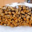 Firewood in snow outdoors — Stockfoto #73408349