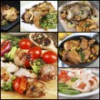 Collage of various meals with meat — Stock Photo #73435695