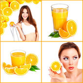 Collage of images with orange — Stock Photo