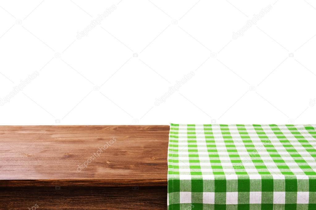 빈 나무 테이블 냅킨과 흰색 배경 — 스톡 사진 © belchonock #73479797