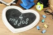 Inscription on blackboard I love my job on workplace — Stock Photo