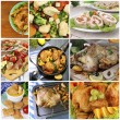 Collage of various meals with meat — Stock Photo #73612443
