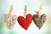 Corazones colgantes de cuerda — Foto de Stock