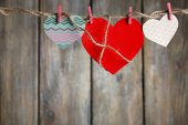 Bright hearts hanging on rope — ストック写真