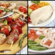 Collage of various meals with meat — Stock Photo #73829721