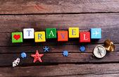 Επιγραφή ταξιδίου σε ξύλινα φόντο — Φωτογραφία Αρχείου