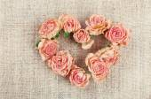 Heart of beautiful dry flowers — Stock Photo
