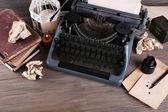 Retro typewriter on wooden table, top view — Stock Photo