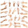 Collage of  hands showing different gestures, isolated on white — Stock Photo #74136491