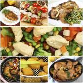 Collage de différents plats avec viande — Photo