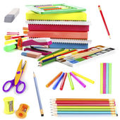 Bright school stationery, isolated on white — Stock Photo