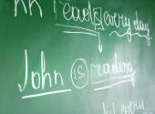 Teacher hand writing grammar sentences — Stock Photo