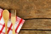 Checkered napkin with fork and spoon — Stock Photo