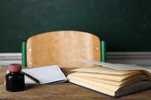 Teachers workplace  on blackboard background — Stock Photo