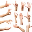 Collage of  hands showing different gestures, isolated on white — Stock Photo #74439785