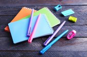 Colorful stationery on wooden table, closeup — Stock Photo