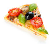 Slice of tasty pizza with vegetables and basil isolated on white — Stock Photo
