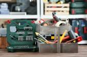 Set tools in werkplaats — Stockfoto
