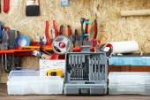 Set of tools in workshop — Stock Photo