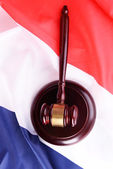 Wooden gavel on French flag background — Stock Photo