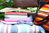Books, glasses and bag — Stock Photo