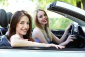Two girls in cabriolet — Stock Photo
