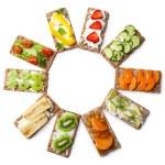 Tasty vegetarian sandwiches, isolated on white — Stock Photo #75135605