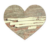 Vintage wooden heart isolated on white — Stock Photo