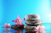 Stack of spa stones with flowers on blue background — Stock Photo