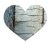 白で隔離ヴィンテージ木の心 — ストック写真