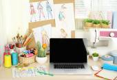 Beautiful comfortable seamstress workplace — Stock Photo