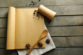 Open recipe book on wooden background — Stok fotoğraf